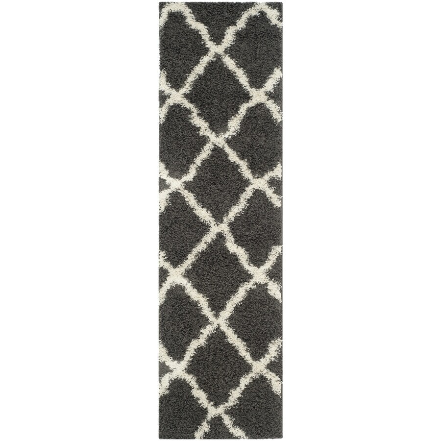 Safavieh Dallas Shag Dark Gray/Ivory Rectangular Indoor Machine-made Moroccan Runner (Common: 2 x 8; Actual: 2.25-ft W x 8-ft L)
