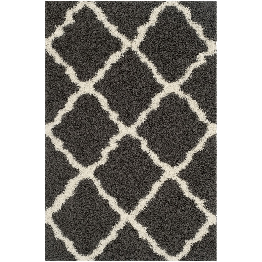 Safavieh Dallas Shag Dark Gray/Ivory Rectangular Indoor Machine-Made Moroccan Area Rug (Common: 4 x 6; Actual: 4-ft W x 6-ft L x 0-ft Dia)