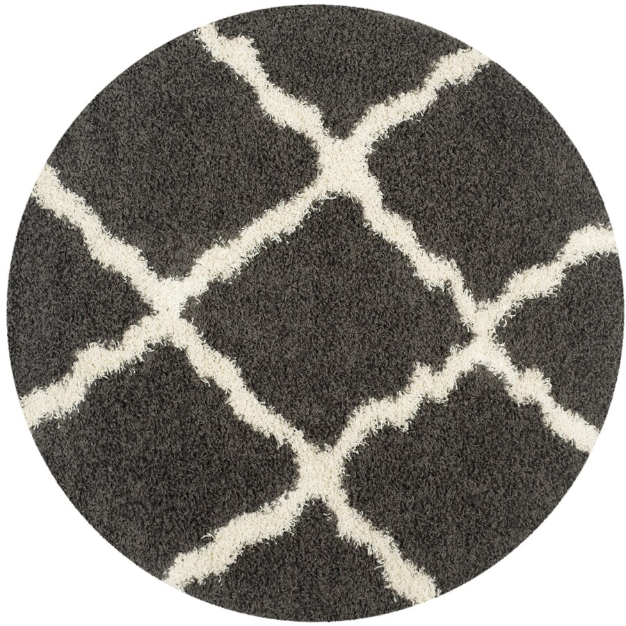 Safavieh Dallas Shag Dark Gray/Ivory Round Indoor Machine-made Moroccan Area Rug (Common: 6 x 6; Actual: 6-ft W x 6-ft L x 6-ft Dia)