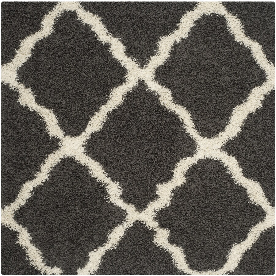 Safavieh Dallas Shag Dark Gray/Ivory Square Indoor Machine-made Moroccan Area Rug (Common: 6 x 6; Actual: 6-ft W x 6-ft L)