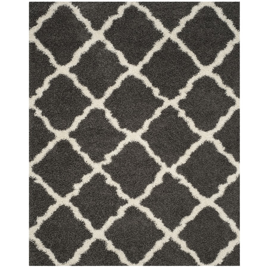 Safavieh Dallas Shag Dark Gray/Ivory Rectangular Indoor Machine-Made Moroccan Area Rug (Common: 8 X 11; Actual: 8.5-ft W x 12-ft L)