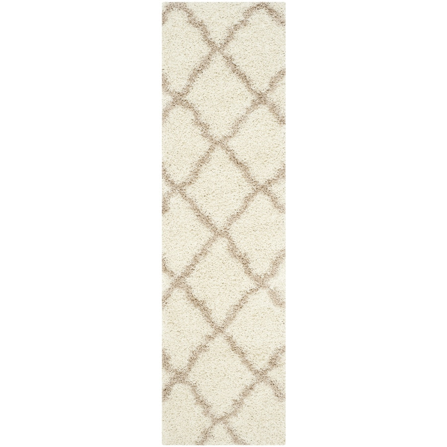 Safavieh Dallas Shag Ivory/Beige Rectangular Indoor Machine-made Moroccan Runner (Common: 2 x 8; Actual: 2.25-ft W x 8-ft L)