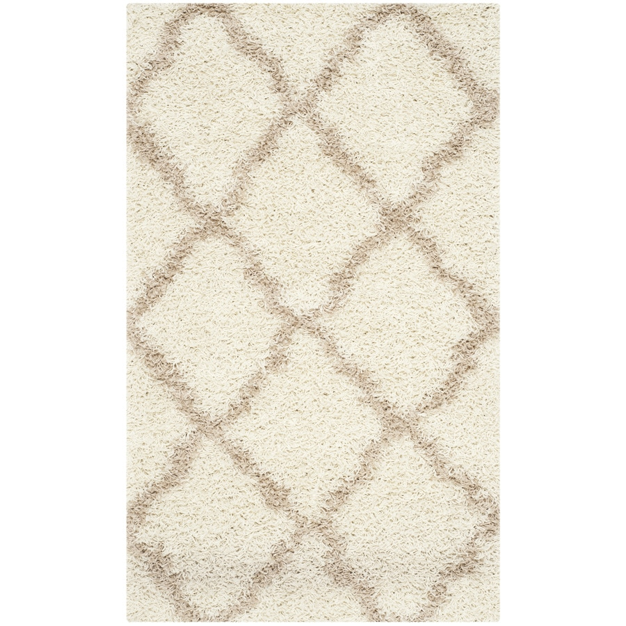 Safavieh Dallas Shag Ivory Rectangular Indoor Machine-Made Moroccan Throw Rug (Common: 3 x 5; Actual: 3-ft W x 5-ft L)