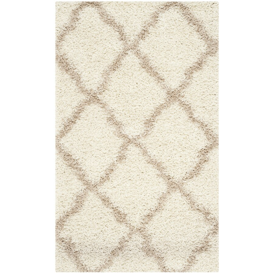 Safavieh Dallas Shag Ivory/Beige Rectangular Indoor Machine-made Moroccan Throw Rug (Common: 3 x 5; Actual: 3-ft W x 5-ft L)