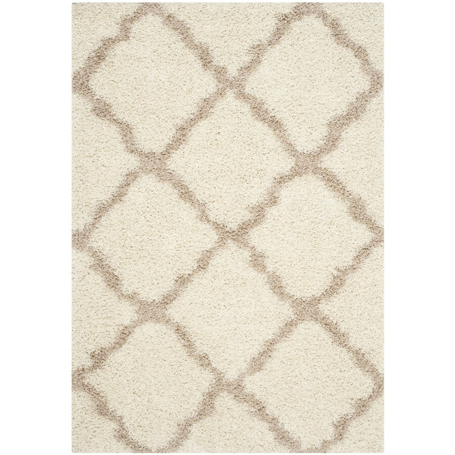 Safavieh Dallas Shag Ivory/Beige Rectangular Indoor Machine-made Moroccan Area Rug (Common: 4 x 6; Actual: 4-ft W x 6-ft L)