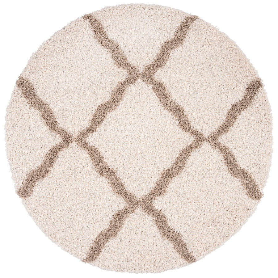 Safavieh Dallas Shag Ivory Round Indoor Machine-Made Moroccan Area Rug (Common: 6 x 6; Actual: 6-ft W x 6-ft L x 6-ft Dia)
