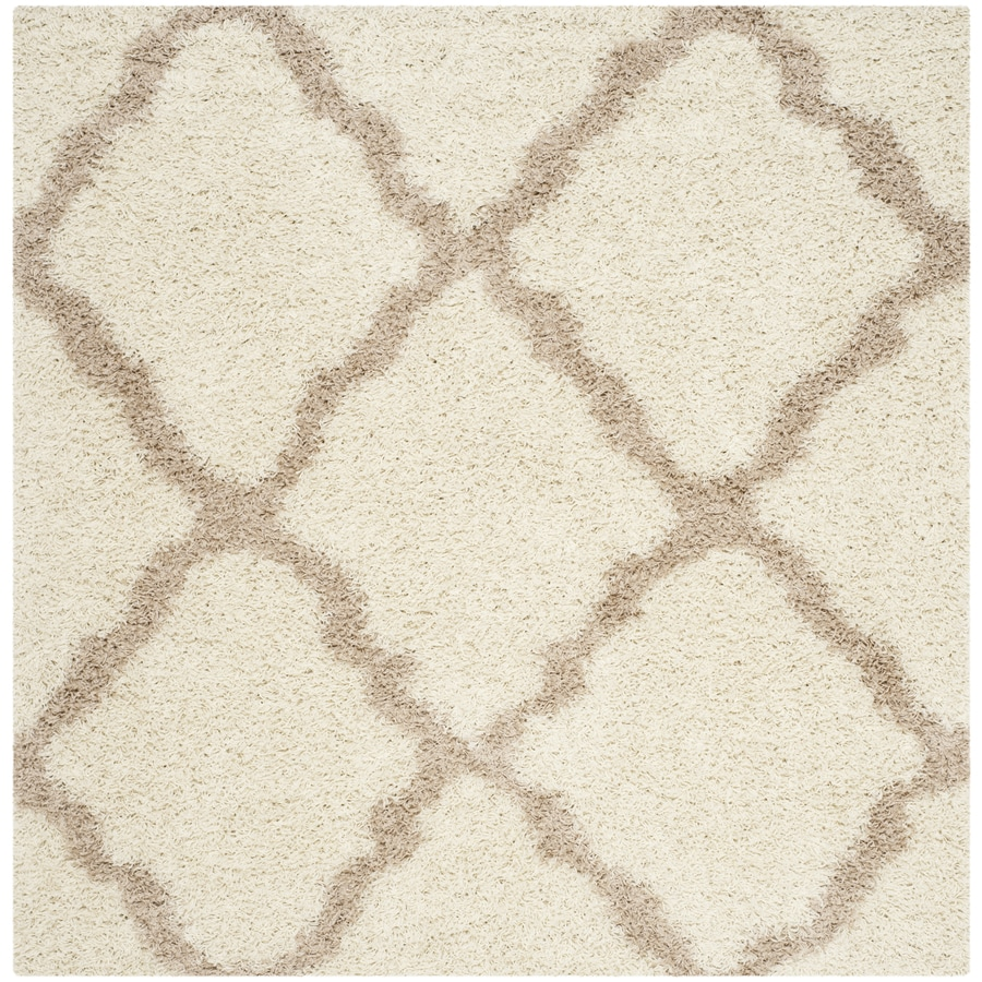 Safavieh Dallas Shag Ivory Square Indoor Machine-Made Area Rug