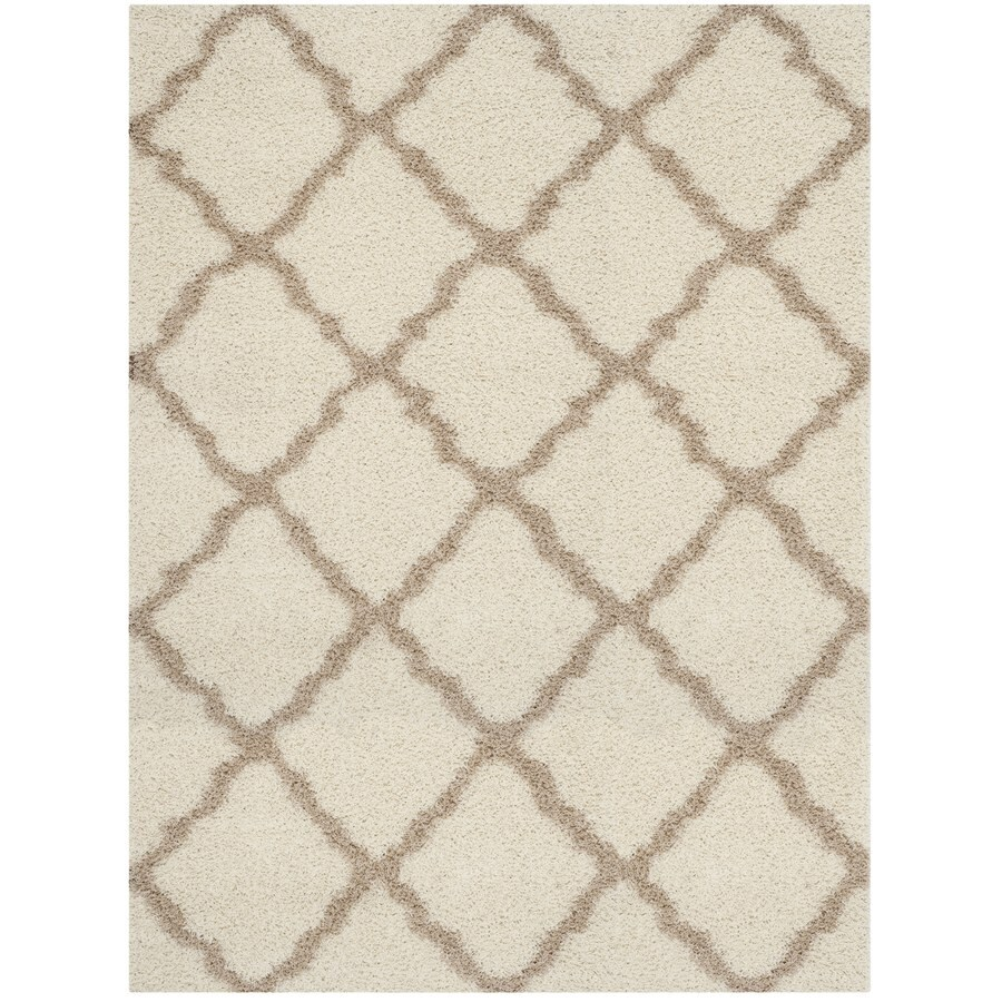 Safavieh Dallas Shag Ivory/Beige Rectangular Indoor Machine-made Moroccan Area Rug (Common: 8 x 10; Actual: 8-ft W x 10-ft L)