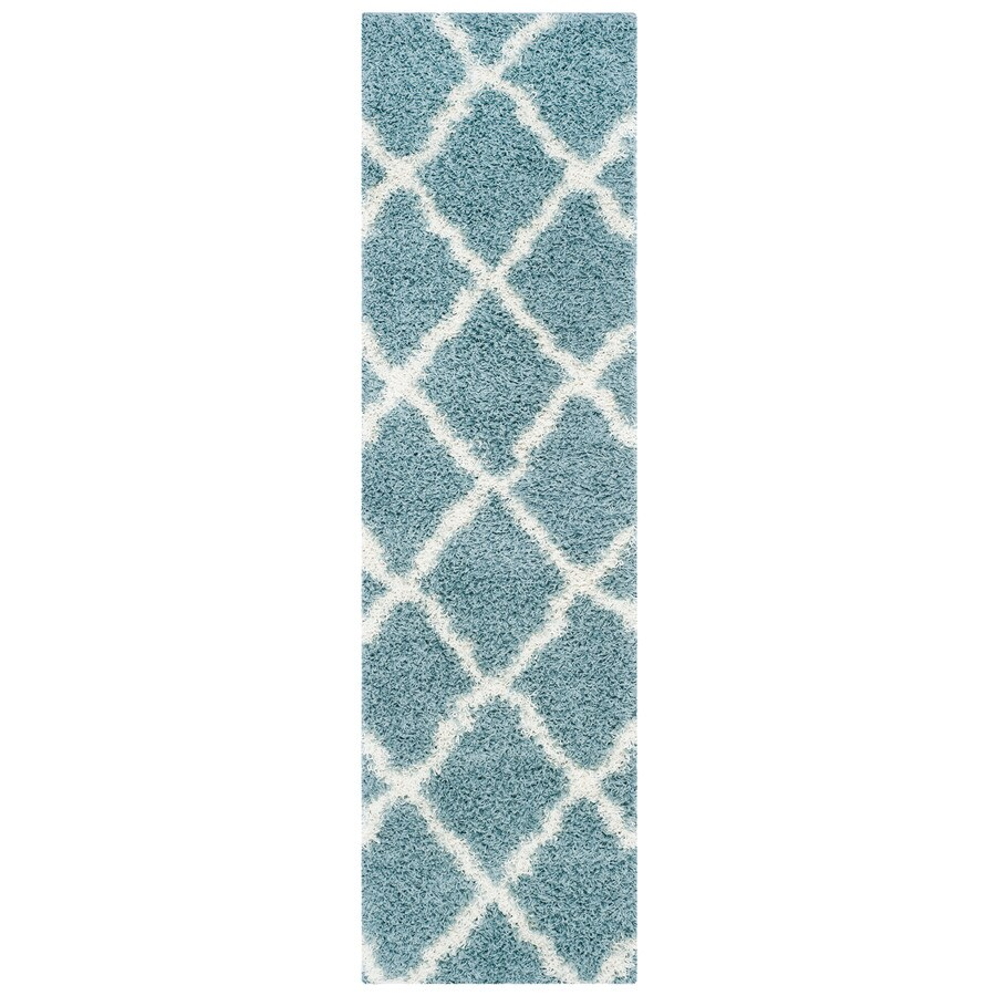Safavieh Dallas Shag Seafoam/Ivory Indoor Moroccan Runner (Common: 2 x 8; Actual: 2.25-ft W x 8-ft L)