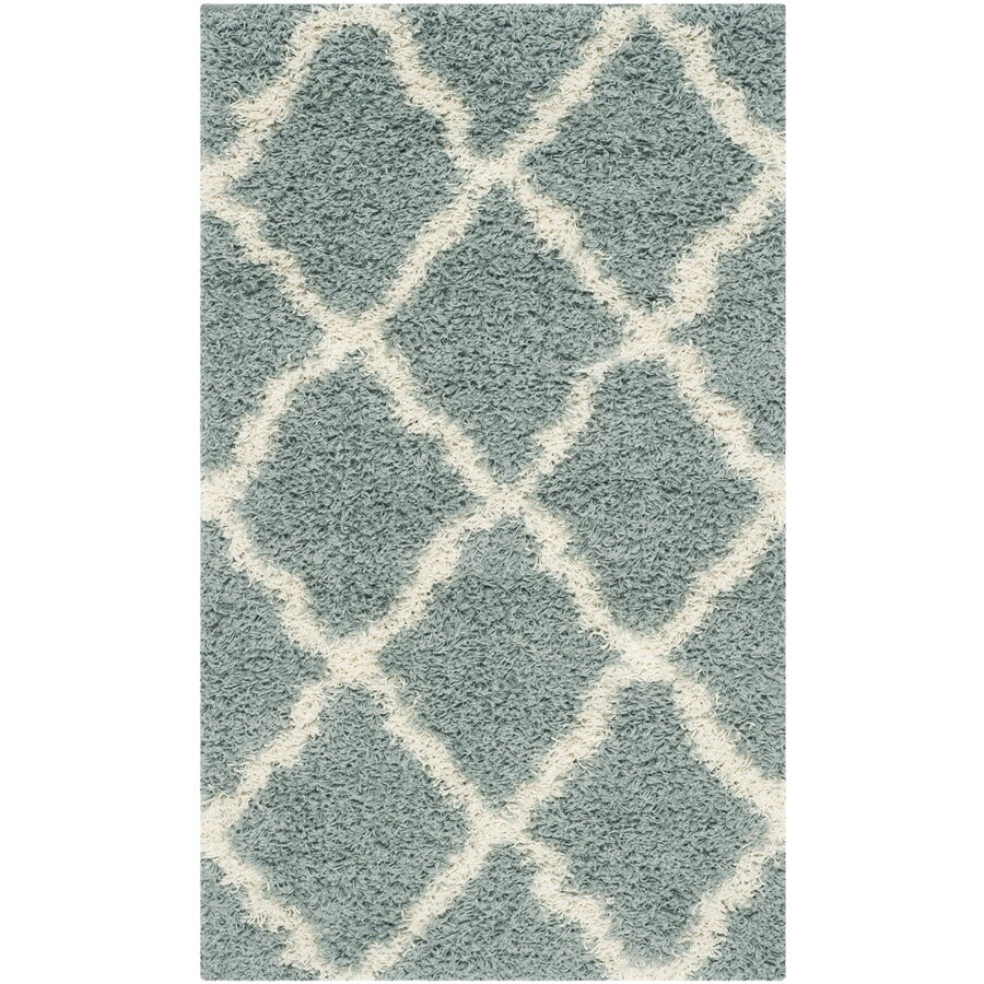 Safavieh Dallas Shag Seafoam/Ivory Indoor Moroccan Throw Rug (Common: 3 x 5; Actual: 3-ft W x 5-ft L)