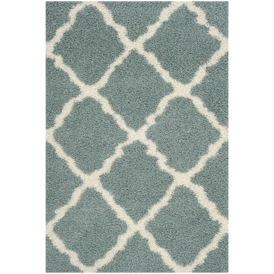 Safavieh Dallas Shag Seafoam/Ivory Rectangular Indoor Machine-Made Moroccan Area Rug (Common: 5 x 7; Actual: 5.083-ft W x 7.5-ft L)
