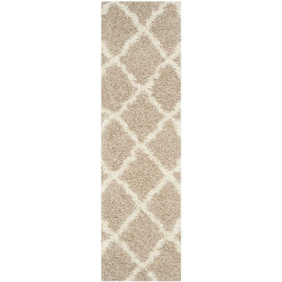 Safavieh Dallas Shag Beige Rectangular Indoor Machine-Made Moroccan Runner (Common: 2 x 8; Actual: 2.25-ft W x 8-ft L x 0-ft Dia)