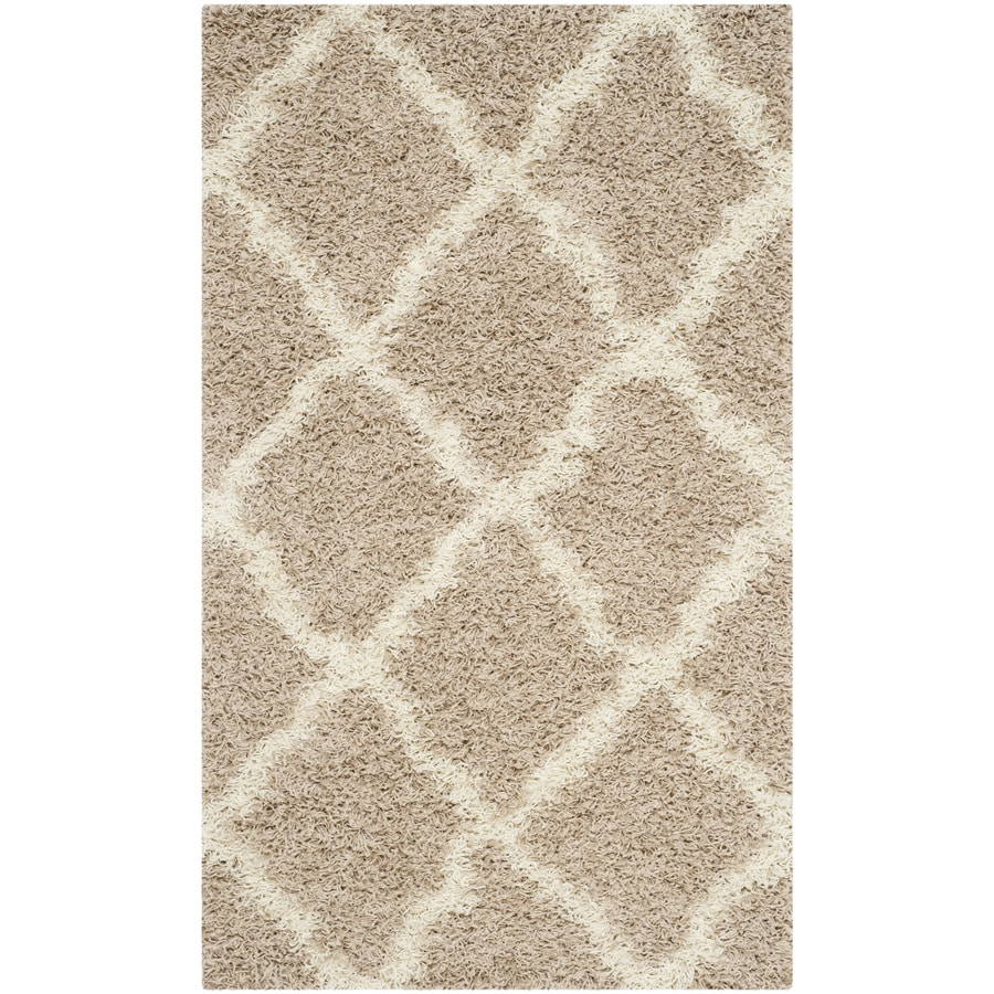 Safavieh Dallas Shag Beige/Ivory Indoor Moroccan Throw Rug (Common: 3 x 5; Actual: 3-ft W x 5-ft L)