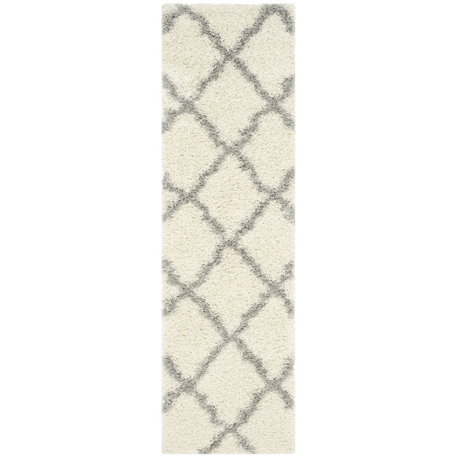 Safavieh Dallas Shag Ivory/Gray Indoor Moroccan Runner (Common: 2 x 8; Actual: 2.25-ft W x 8-ft L)