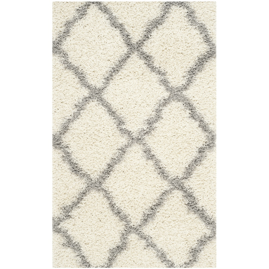 Safavieh Dallas Shag Ivory/Gray Rectangular Indoor Machine-Made Moroccan Throw Rug (Common: 3 x 5; Actual: 3-ft W x 5-ft L)