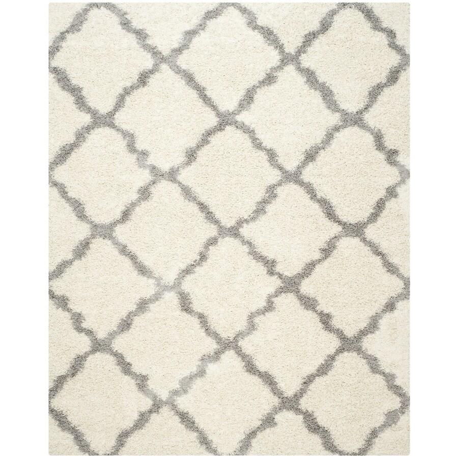 Safavieh Dallas Shag Ivory/Gray Indoor Moroccan Area Rug (Common: 5 x 8; Actual: 5.1-ft W x 7.5-ft L)