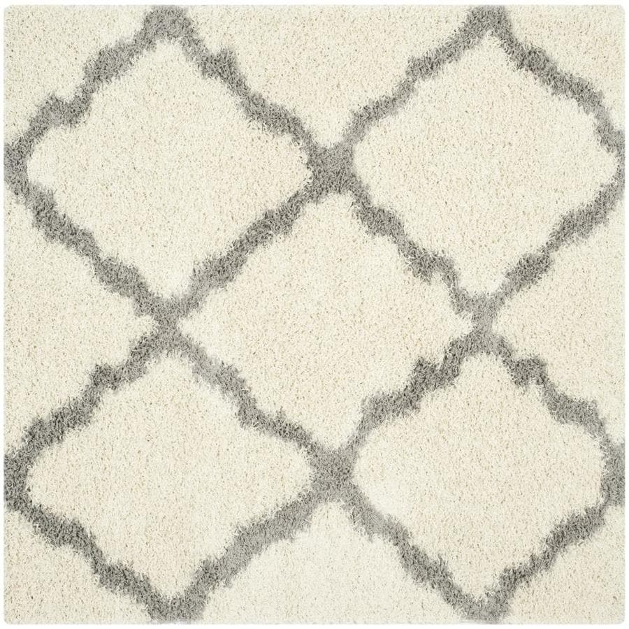 Safavieh Dallas Shag Ivory/Gray Square Indoor Machine-made Moroccan Area Rug (Common: 6 x 6; Actual: 6-ft W x 6-ft L)
