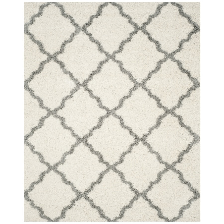 Safavieh Dallas Shag Ivory/Gray Rectangular Indoor Machine-made Moroccan Area Rug (Common: 8 x 10; Actual: 8-ft W x 10-ft L)