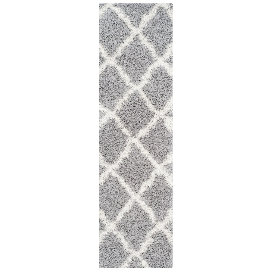 Safavieh Dallas Shag Gray/Ivory Indoor Moroccan Runner (Common: 2 x 8; Actual: 2.25-ft W x 8-ft L)