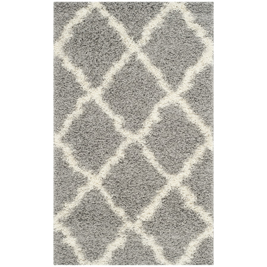 Safavieh Dallas Shag Gray/Ivory Indoor Moroccan Throw Rug (Common: 3 x 5; Actual: 3-ft W x 5-ft L)