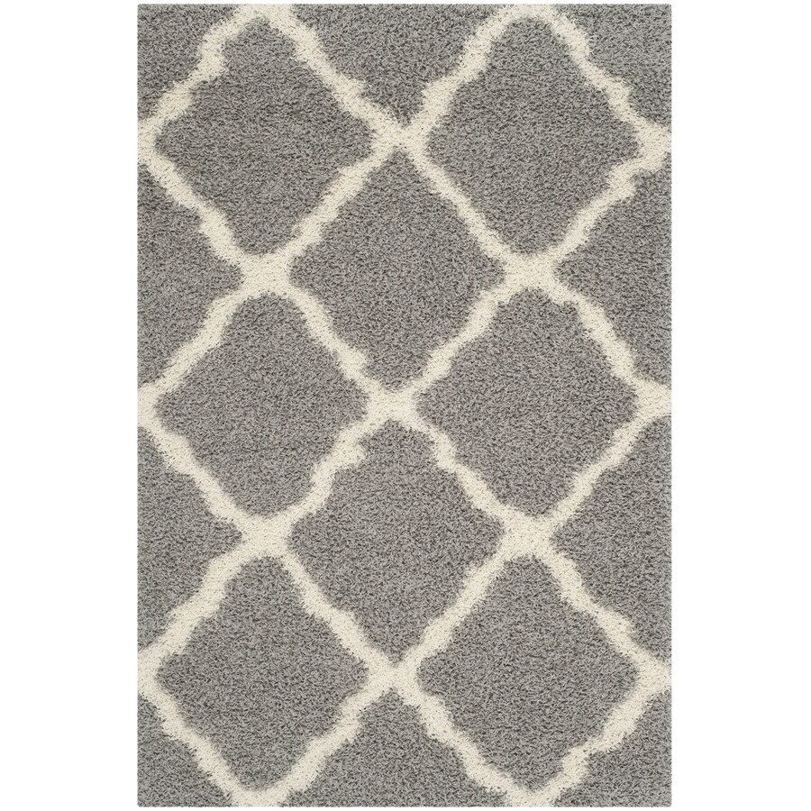 Safavieh Dallas Shag Gray/Ivory Rectangular Indoor Machine-Made Moroccan Area Rug (Common: 4 x 6; Actual: 4-ft W x 6-ft L)