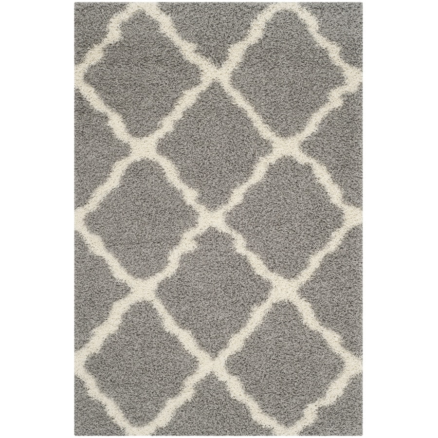 Safavieh Dallas Shag Gray/Ivory Indoor Moroccan Area Rug (Common: 4 x 6; Actual: 4-ft W x 6-ft L)