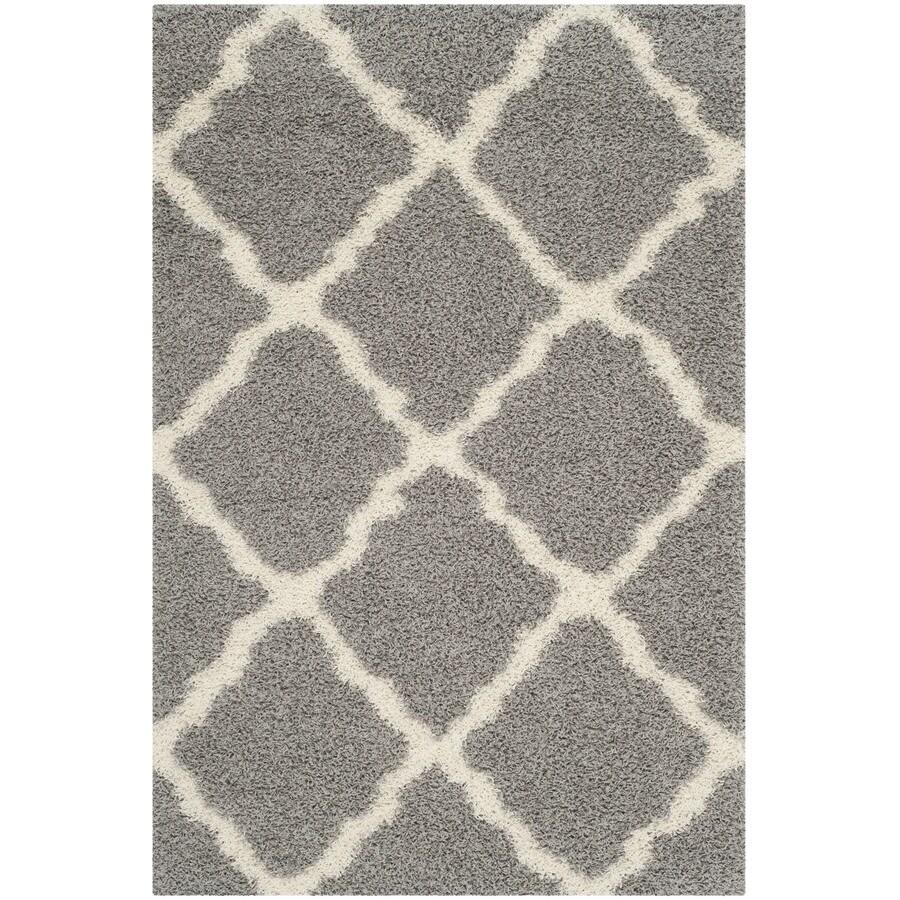 Safavieh Dallas Shag Gray/Ivory Indoor Moroccan Area Rug (Common: 6 x 9; Actual: 6-ft W x 9-ft L)