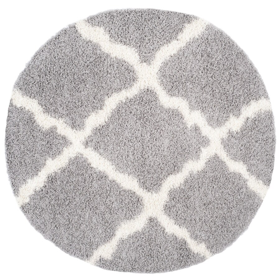Safavieh Dallas Shag Gray/Ivory Round Indoor Machine-made Moroccan Area Rug (Common: 6 x 6; Actual: 6-ft W x 6-ft L x 6-ft Dia)