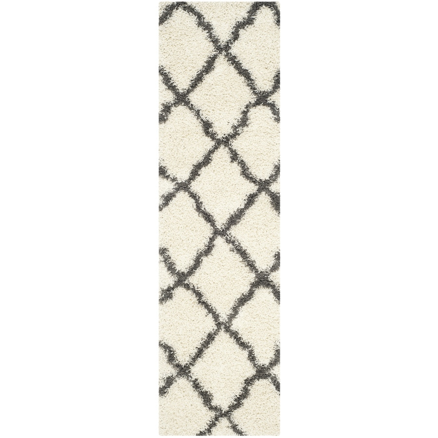 Safavieh Dallas Shag Ivory/Dark Gray Rectangular Indoor Machine-made Moroccan Runner (Common: 2 x 8; Actual: 2.25-ft W x 8-ft L)