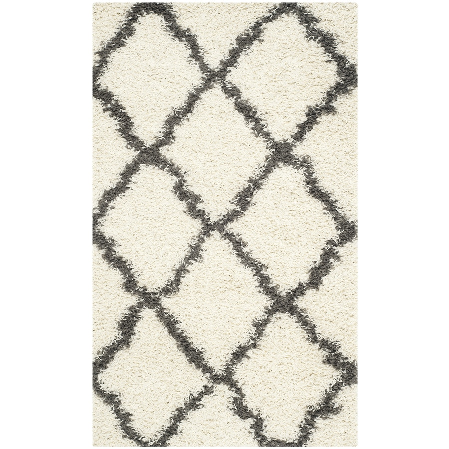Safavieh Dallas Shag Ivory/Dark Gray Rectangular Indoor Machine-made Moroccan Throw Rug (Common: 3 x 5; Actual: 3-ft W x 5-ft L)