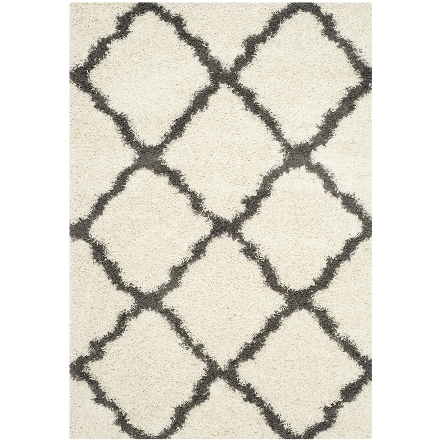 Safavieh Dallas Shag Ivory/Dark Gray Rectangular Indoor Machine-made Moroccan Area Rug (Common: 5 x 7; Actual: 5.1-ft W x 7.5-ft L)