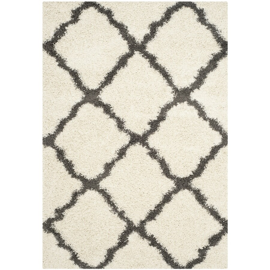 Safavieh Dallas Shag Ivory/Dark Gray Rectangular Indoor Machine-made Moroccan Area Rug (Common: 6 x 9; Actual: 6-ft W x 9-ft L)