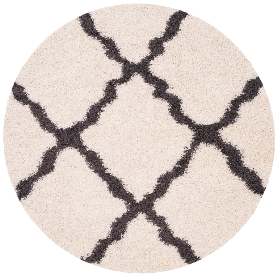Safavieh Dallas Shag Ivory/Dark Gray Round Indoor Machine-made Moroccan Area Rug (Common: 6 x 6; Actual: 6-ft W x 6-ft L x 6-ft Dia)