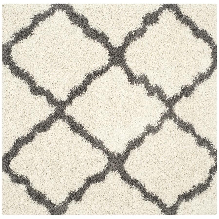 Safavieh Dallas Shag Ivory/Dark Gray Square Indoor Moroccan Area Rug (Common: 6 x 6; Actual: 6-ft W x 6-ft L)