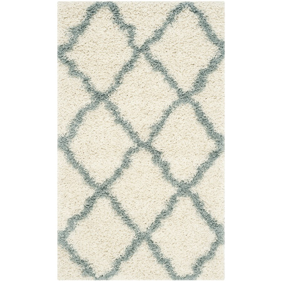 Safavieh Dallas Shag Ivory/Light Blue Rectangular Indoor Machine-Made Moroccan Throw Rug (Common: 3 x 5; Actual: 3-ft W x 5-ft L)