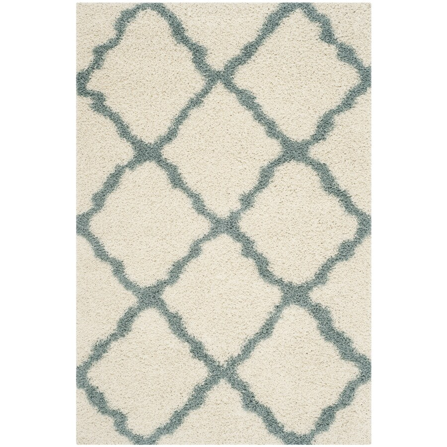Safavieh Dallas Shag Ivory/Light Blue Rectangular Indoor Machine-made Moroccan Area Rug (Common: 5 x 7; Actual: 5.1-ft W x 7.5-ft L)