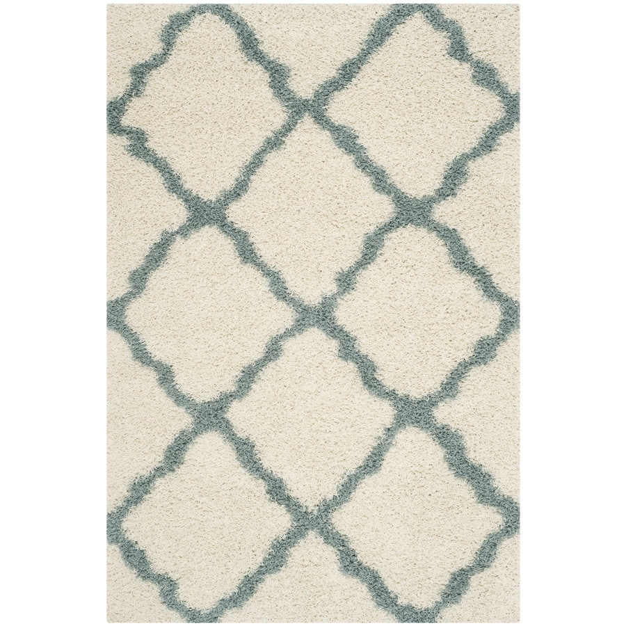 Safavieh Dallas Shag Ivory/Light Blue Rectangular Indoor Machine-Made Moroccan Area Rug (Common: 6 x 9; Actual: 6-ft W x 9-ft L)