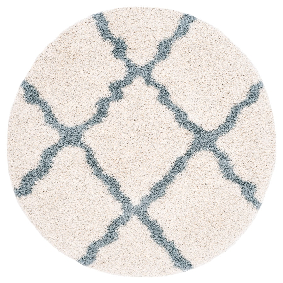 Safavieh Dallas Shag Ivory/Light Blue Round Indoor Machine-Made Moroccan Area Rug (Common: 6 x 6; Actual: 6-ft W x 6-ft L x 6-ft Dia)