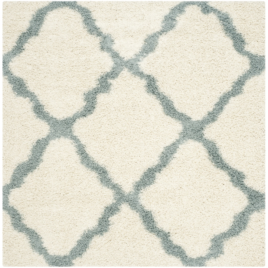 Safavieh Dallas Shag Ivory/Light Blue Square Indoor Moroccan Area Rug (Common: 6 x 6; Actual: 6-ft W x 6-ft L)