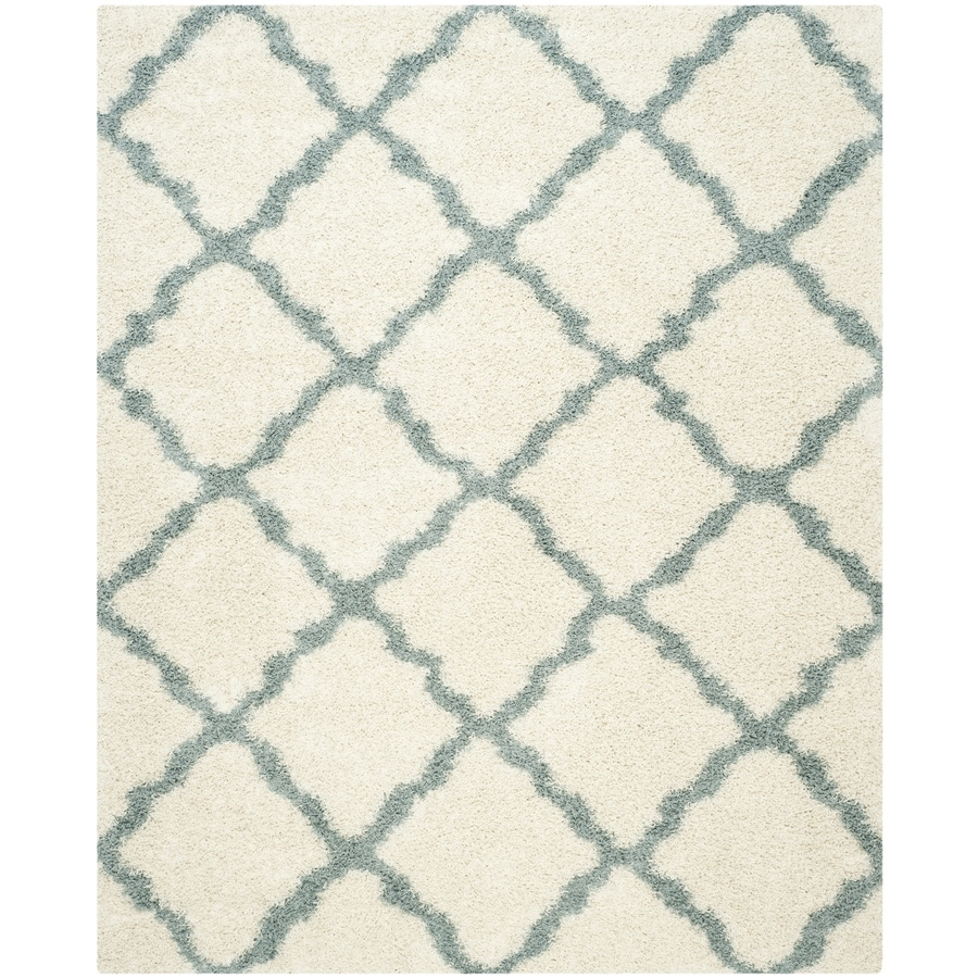 Safavieh Dallas Shag Ivory/Light Blue Indoor Moroccan Area Rug (Common: 8 x 10; Actual: 8-ft W x 10-ft L)