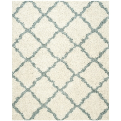 Dallas Shag Ivory Light Blue Rectangular Indoor Machine Made Moroccan Area Rug Common 8 X 10 Actual Ft W L