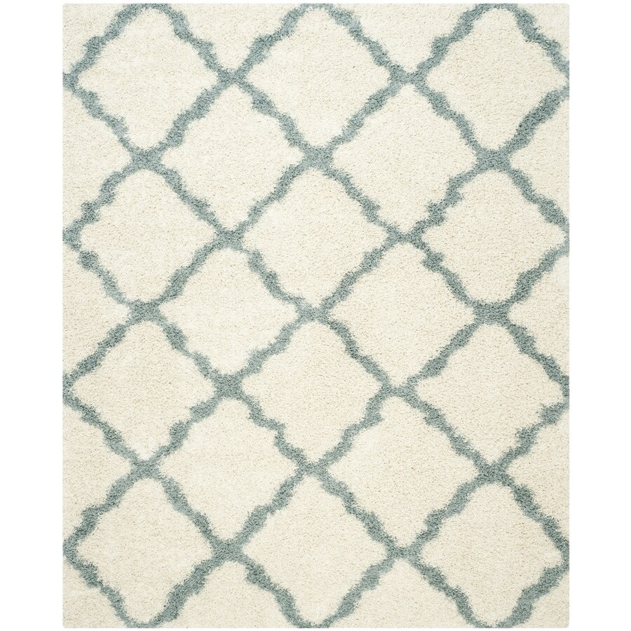 Safavieh Dallas Shag Ivory/Light Blue Indoor Moroccan Area Rug (Common: 9 x 12; Actual: 8.5-ft W x 12-ft L)