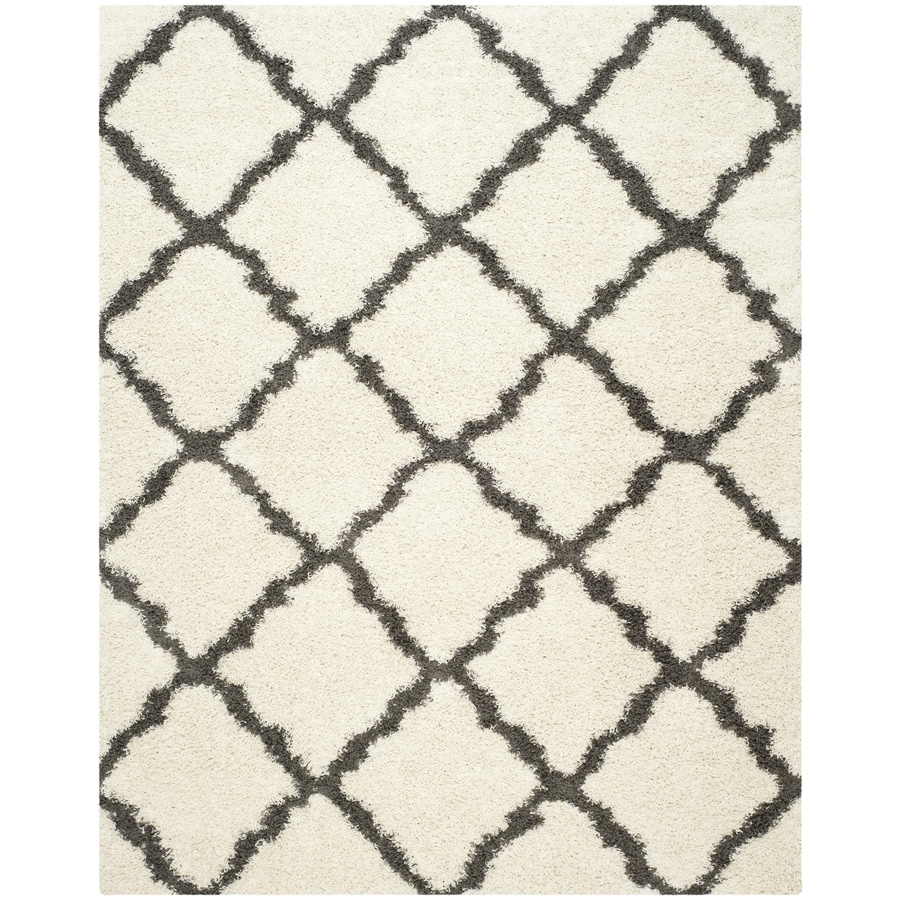 Safavieh Dallas Shag Ivory/Dark Gray Rectangular Indoor Machine-Made Moroccan Area Rug (Common: 8 x 10; Actual: 8-ft W x 10-ft L x 0-ft Dia)