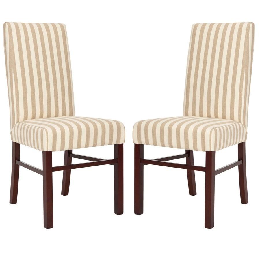 Safavieh Set of 2 Classic Casual Cream/Tan Stripe Accent Chairs