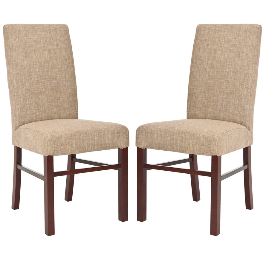 Safavieh Set of 2 Classic Casual Olive Beige Linen Accent Chairs