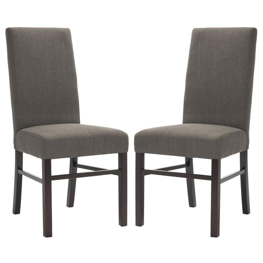 Safavieh Set of 2 Classic Casual Charcoal Brown Linen Accent Chairs