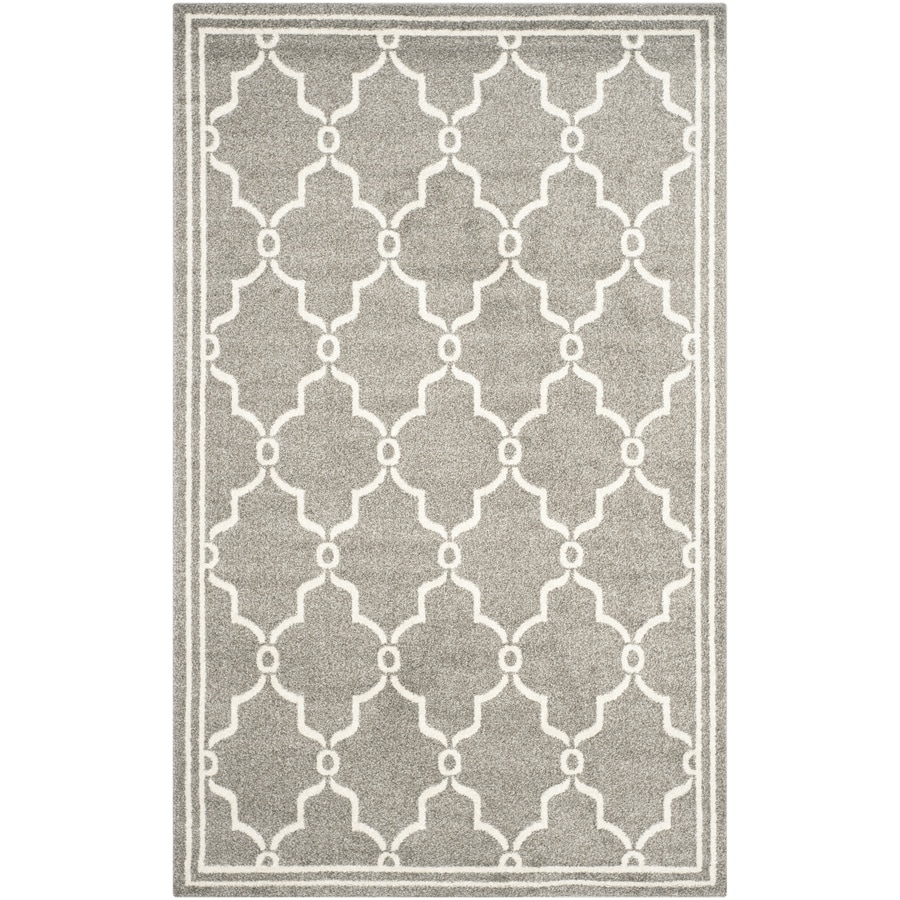 Safavieh Amherst Marion Dark Gray/Beige Rectangular Indoor/Outdoor Machine-Made Moroccan Area Rug (Common: 4 x 6; Actual: 4-ft W x 6-ft L)