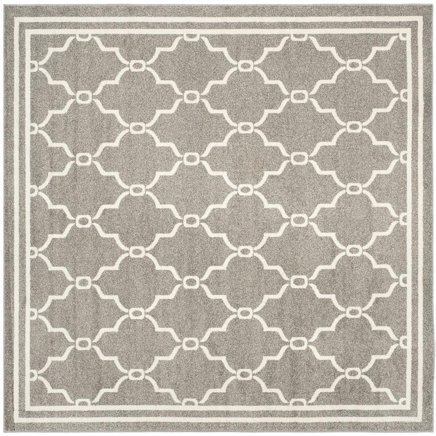 Safavieh Amherst Dark Gray/Beige Square Indoor/Outdoor Machine-Made Moroccan Area Rug (Common: 7 x 7; Actual: 7-ft W x 7-ft L x 0-ft Dia)