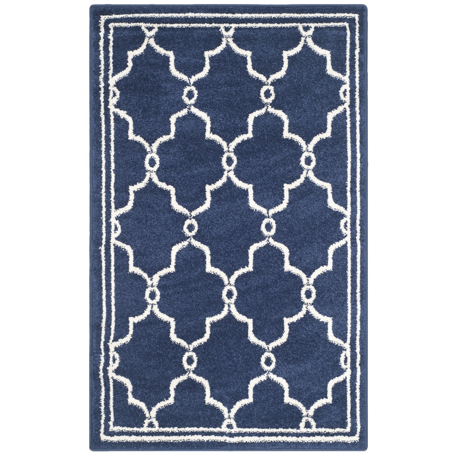 Safavieh Amherst Navy/Beige Rectangular Indoor/Outdoor Machine-Made Moroccan Throw Rug (Common: 2 x 4; Actual: 2.5-ft W x 4-ft L)