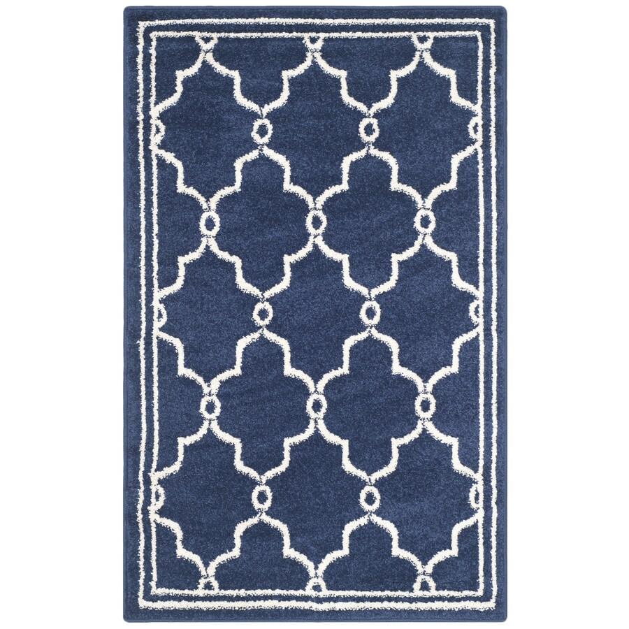 Safavieh Amherst Marion Navy/Beige Indoor/Outdoor Moroccan Throw Rug (Common: 2 x 4; Actual: 2.5-ft W x 4-ft L)